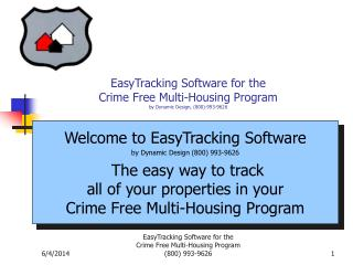 EasyTracking Software for the  Crime Free Multi-Housing Program  by Dynamic Design, 800-993-9626