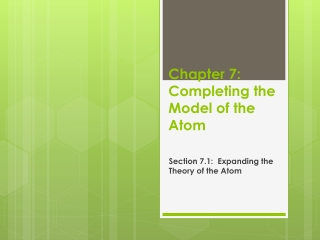 Chapter 7:  Completing the Model of the Atom