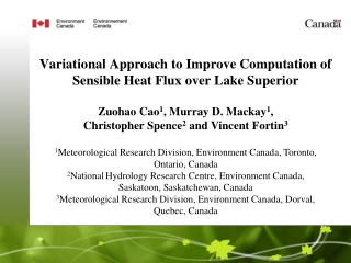 Variational Approach to Improve Computation of Sensible Heat Flux over Lake Superior