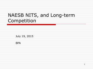 NAESB NITS, and Long-term  Competition