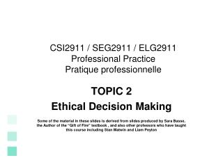 CSI2911 / SEG2911 / ELG2911 Professional Practice  Pratique professionnelle