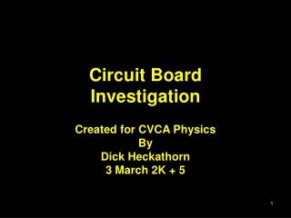 Circuit Board Investigation