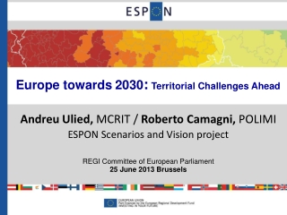 Europe towards 2030 : Territorial Challenges Ahead