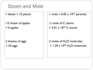 Dozen and Mole