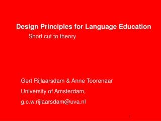 Design Principles for Language Education