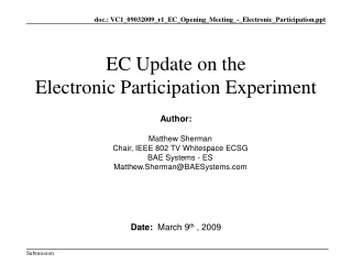 EC Update on the Electronic Participation Experiment