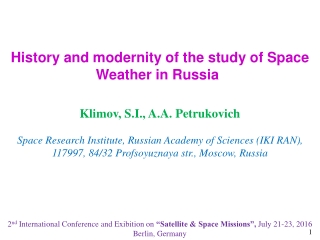 History and modernity of the study of Space Weather in Russia