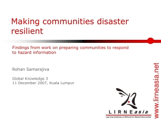 Making communities disaster resilient