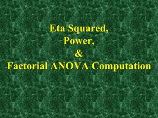 Eta Squared,  Power, & Factorial ANOVA Computation