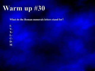 Warm up #30