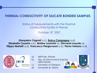 THERMAL CONDUCTIVITY OF SILICATE BONDED SAMPLES