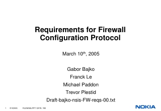 Requirements for Firewall Configuration Protocol