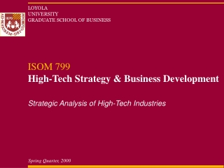 Strategic Analysis of High-Tech Industries
