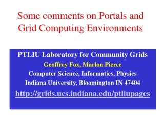 Some comments on Portals and Grid Computing Environments