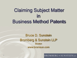 Claiming Subject Matter in  Business Method Patents