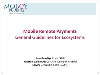 Mobile Remote Payments General Guidelines for Ecosystems