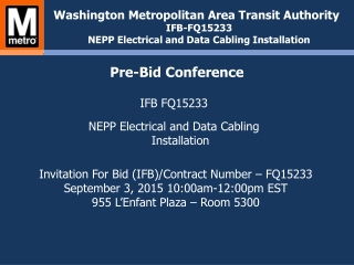 IFB FQ15233 NEPP Electrical and Data Cabling Installation