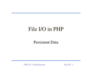 File I/O in PHP
