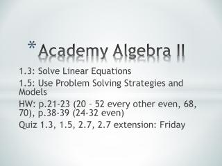 Academy Algebra  II