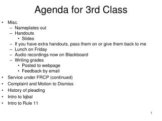 Agenda for 3rd Class
