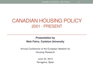 Canadian housing policy 2001 - present