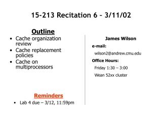 15-213 Recitation 6 – 3/11/02