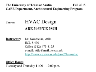 The University of Texas at Austin Fall 2015 CAEE Department, Architectural Engineering Program