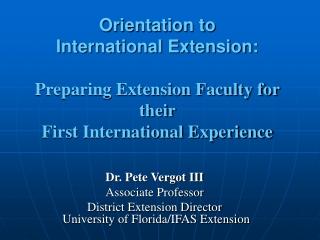 Dr. Pete Vergot III Associate Professor