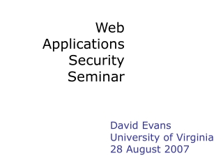 Web Applications Security Seminar