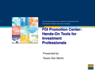 FDI Promotion Center: Hands-On Tools for Investment Professionals