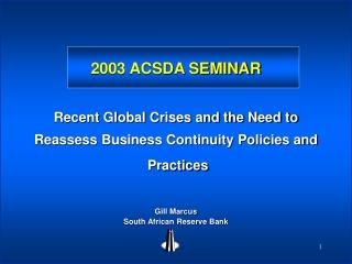2003 ACSDA SEMINAR
