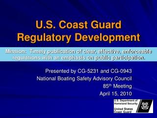 U.S. Coast Guard Regulatory Development
