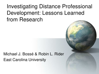 Investigating Distance Professional Development: Lessons Learned from Research