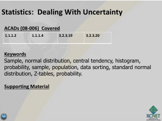 Statistics:  Dealing With Uncertainty