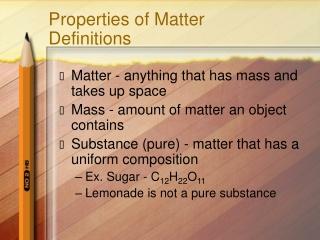 Properties of Matter Definitions