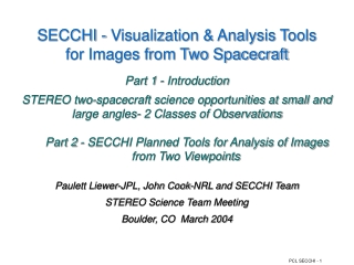 SECCHI - Visualization & Analysis Tools for Images from Two Spacecraft