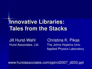 Innovative Libraries: Tales from the Stacks