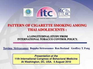 Presentation at the  11th  International Congress  of Behavioral Medicine