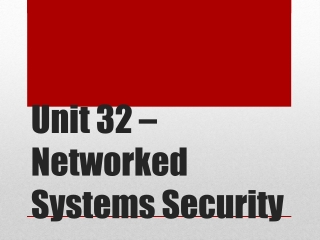 Unit 32 – Networked Systems Security