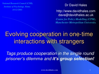 Evolving cooperation in one-time interactions  with strangers