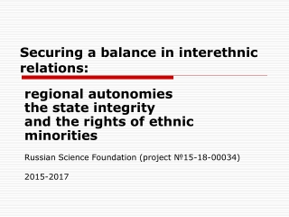 Securing a balance in interethnic relations: