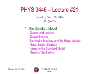 PHYS 3446 – Lecture #21