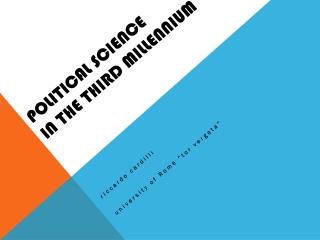 political  science in the  third millennium