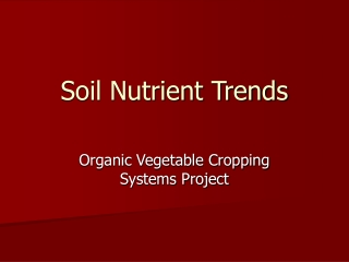 Soil Nutrient Trends