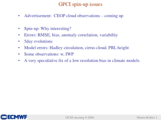 GPCI spin-up issues
