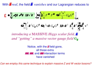 With   real , the field   vanishes  and our Lagrangian reduces to