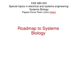 Roadmap to Systems Biology