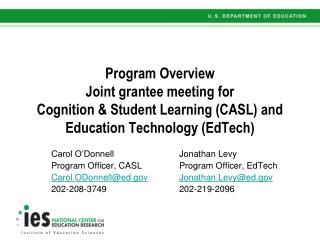 Carol O'DonnellJonathan Levy Program Officer, CASLProgram Officer, EdTech