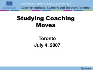 Studying Coaching Moves