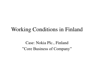 Working Conditions in Finland